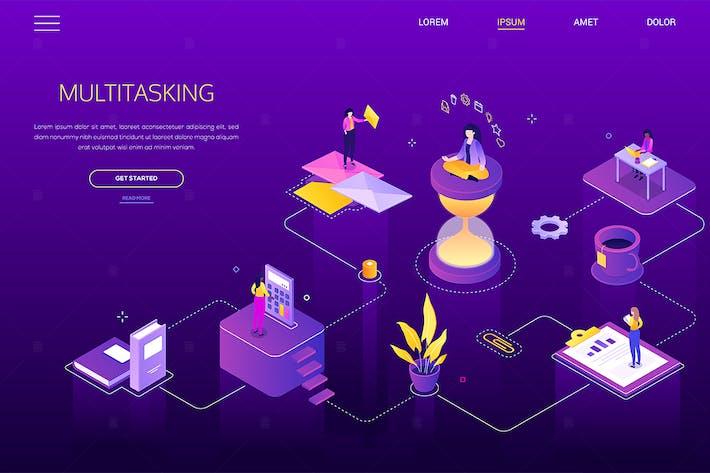 Thumbnail for Multitasking concept - isometric web banner