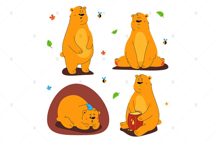 Thumbnail for Cute brown bear - set of characters