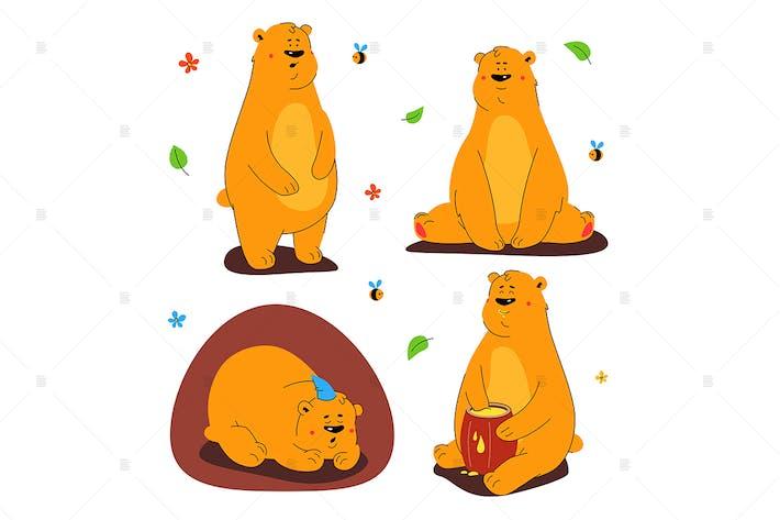 Cute brown bear - set of characters