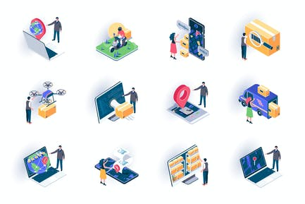 Delivery Service Isometric Icons Pack