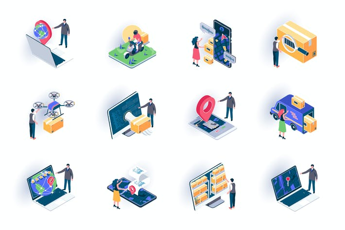 Thumbnail for Delivery Service Isometric Icons Pack