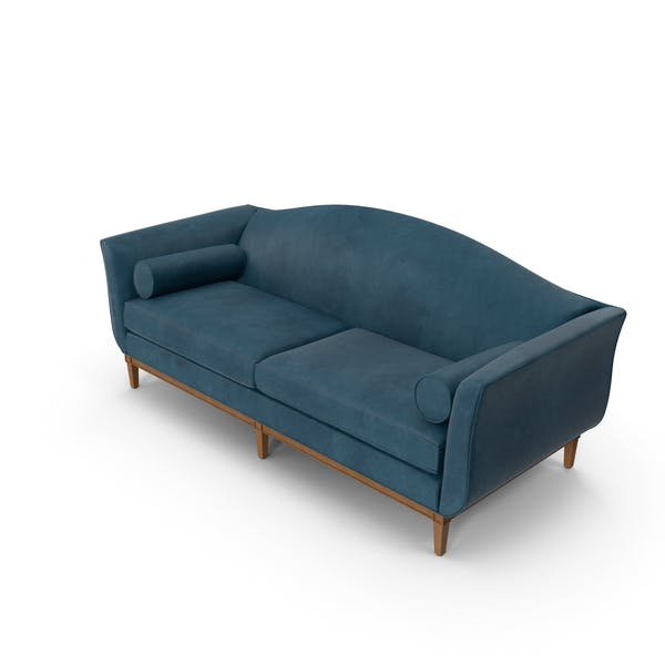 Thumbnail for Traditional 2 Seater Sofa Blue Velvet