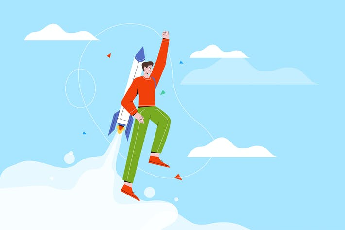 Cheerful Businessman Flying off with Jet Pack