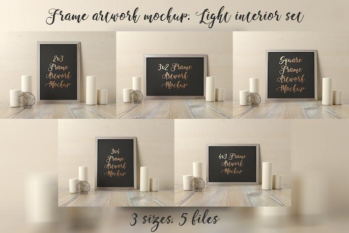 Cover Image For Frame Artwork Mockup - Light Interior Set