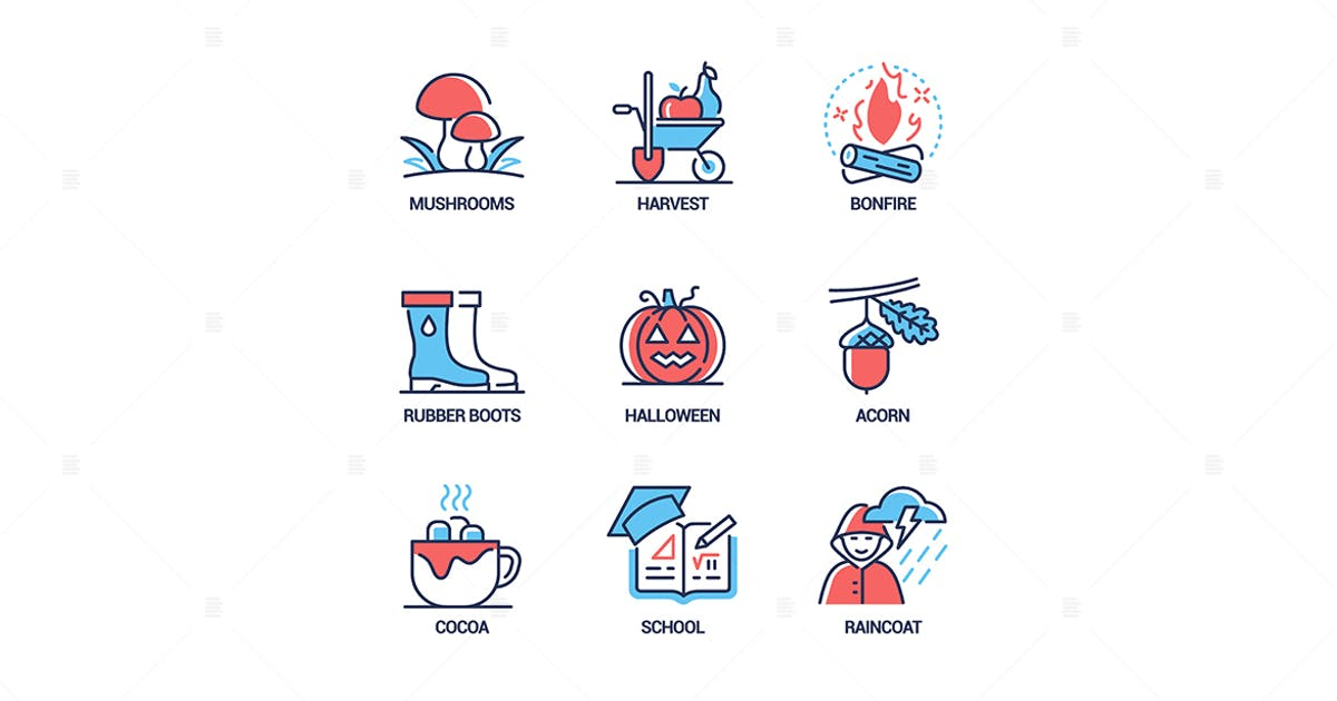 Download Autumn - modern line design style icons set by BoykoPictures