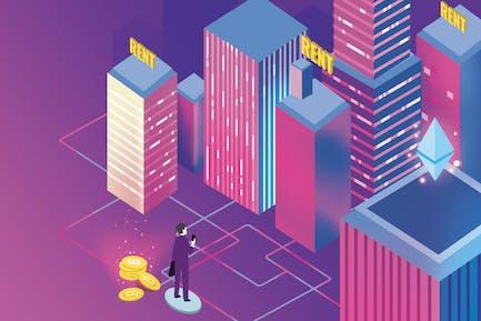 Apartment Rent Blockchain Illustration - Nh