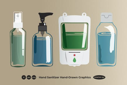 Hand Sanitizer With Grain Texture Graphics