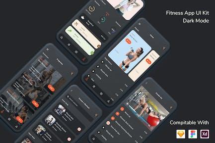 Fitness App UI Kit Dark Mode