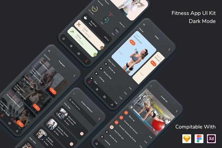 Thumbnail for Fitness App UI Kit Dark Mode