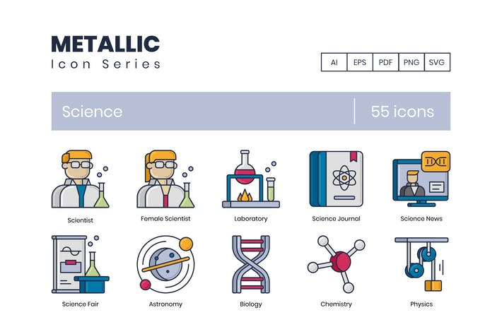 Thumbnail for 55 Science Icons | Metallic Series