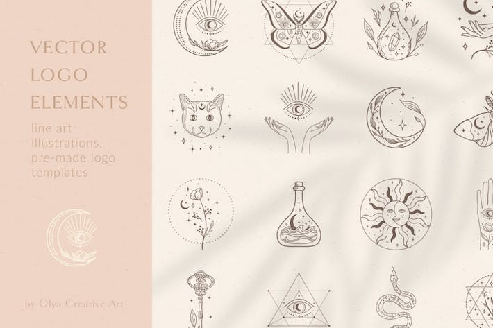 Thumbnail for Decorative Elements Vector Illustrations. Esoteric