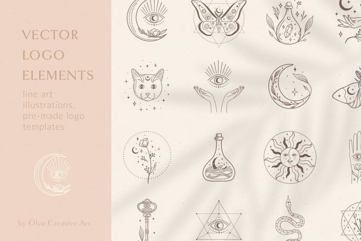 Decorative Elements Vector Illustrations. Esoteric