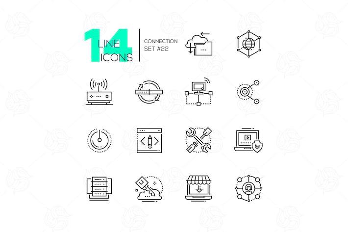Thumbnail for Подключение - современный стиль дизайна линии набор Иконки
