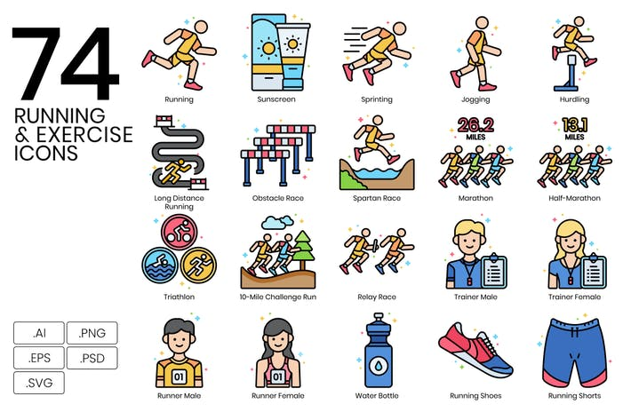 Thumbnail for 74 Running & Exercise Line Icons