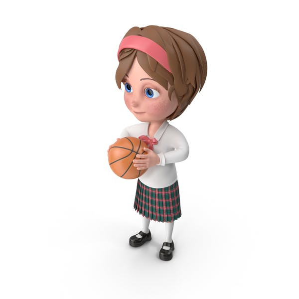 Cartoon Girl Meghan Playing Basketball