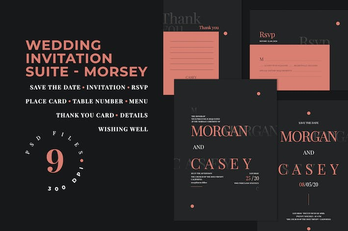 Thumbnail for Wedding Invitation Suite - Morsey