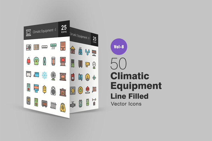 Thumbnail for 50 Climatic Equipment Line Filled Icons