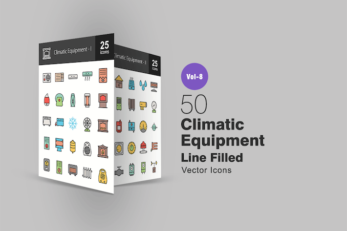50 Climatic Equipment Line Filled Icons