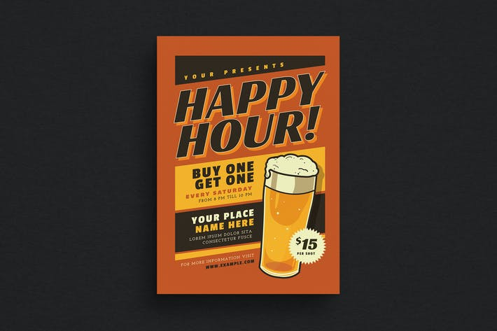 Thumbnail for Retro Happy Hour Beer Event Flyer