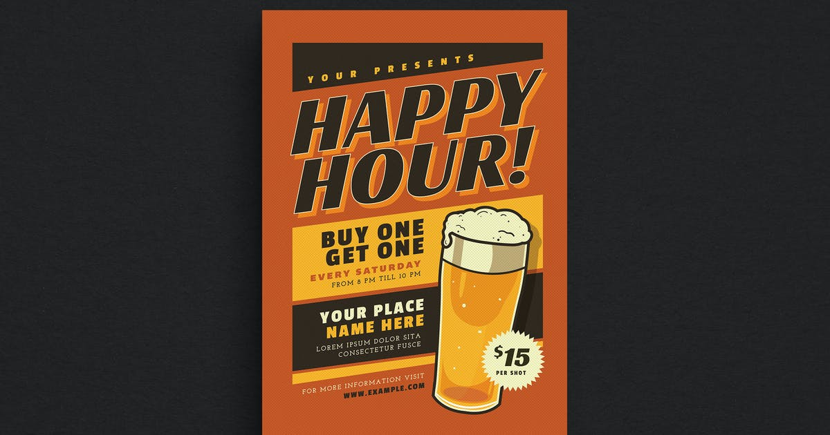 Download Retro Happy Hour Beer Event Flyer by Unknow