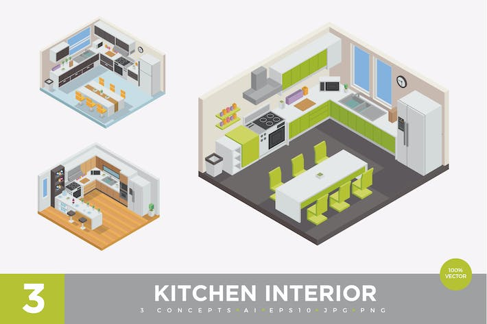 Thumbnail for 3 Isometric Home Kitchen Interior Vector Set 1