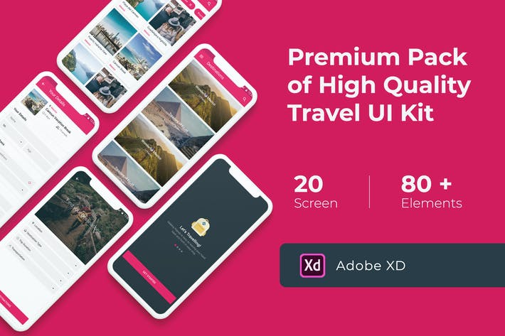 Cover Image For Premium Travel UI KIT for XD