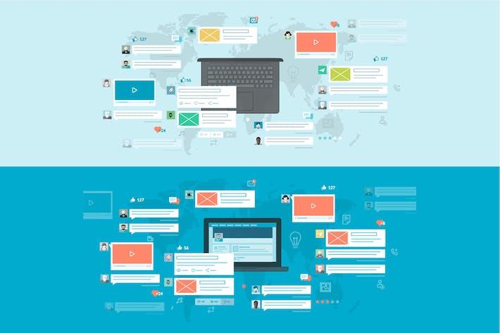 Thumbnail for Набор концепций плоского дизайна для сетей