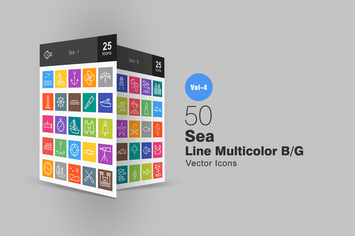 Thumbnail for 50 Sea Line Multicolor Icons