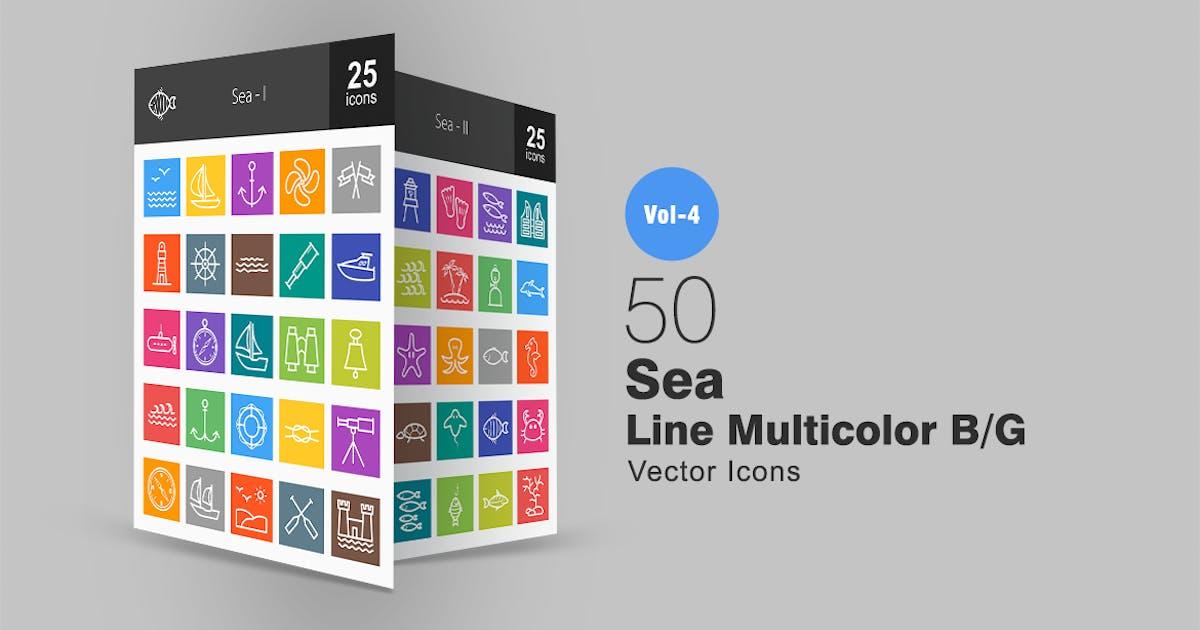 50 Sea Line Multicolor Icons by IconBunny