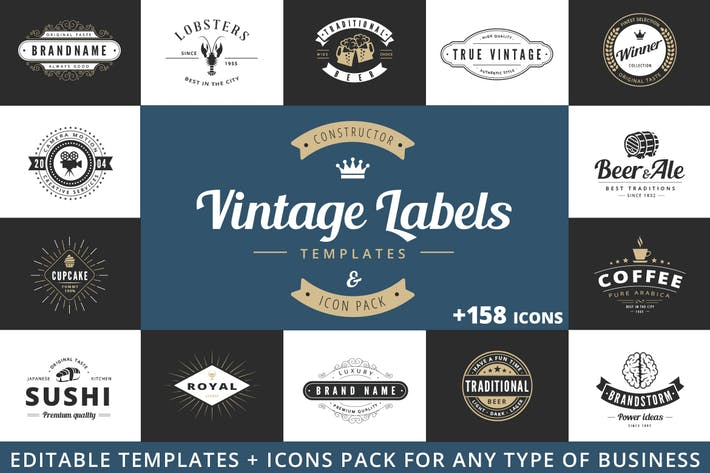 Thumbnail for Vintage Labels Logo Constructor