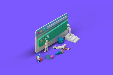 Ui Ux Design Team creating website isometric 3D