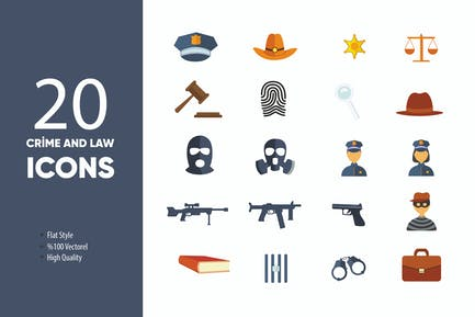 Crime and Law Flat Icons