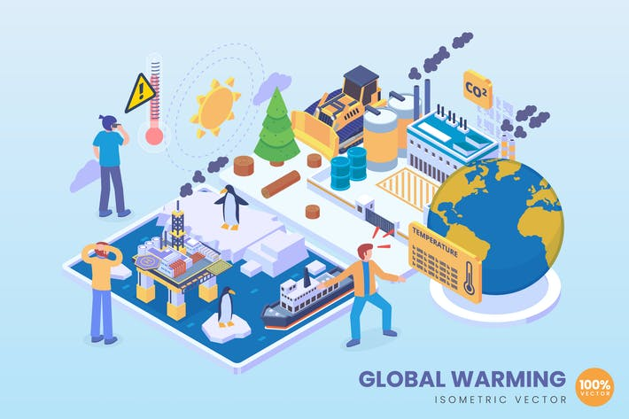 Thumbnail for Isometric Global Warming Concept