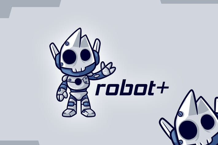 Thumbnail for Cartoon Cute Skull Skeleton Robot Mascot Logo