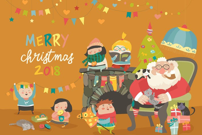 Thumbnail for Cartoon Santa with kids and gifts. Vector greeting