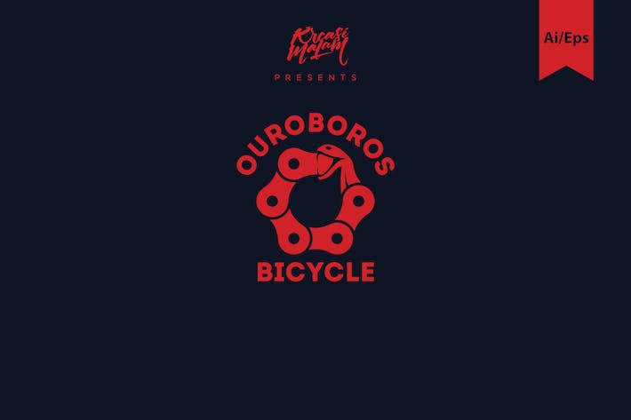 Thumbnail for Ouroboros Bicycle Logo Template