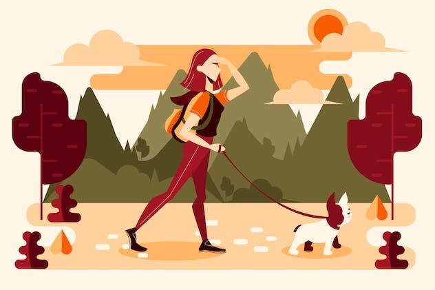Young girl walking with his dog in nature