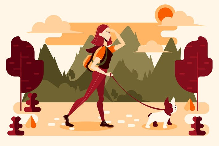 Thumbnail for Young girl walking with his dog in nature