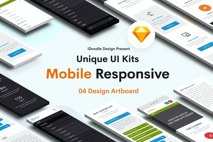 Thumbnail for Mobile Responsive UI Kits Design