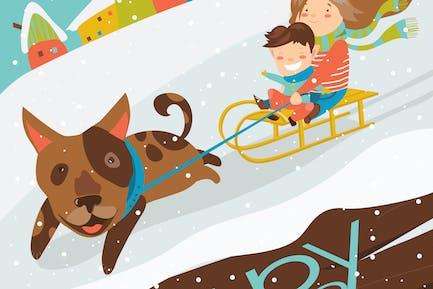 Perro divertido tirando trineo con los niños