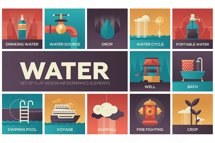 Thumbnail for Water concept - flat design infographics elements