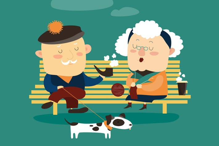 Thumbnail for Old couple sitting on bench. Vector romantic