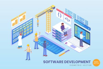 Isometric Software Development Vector Concept