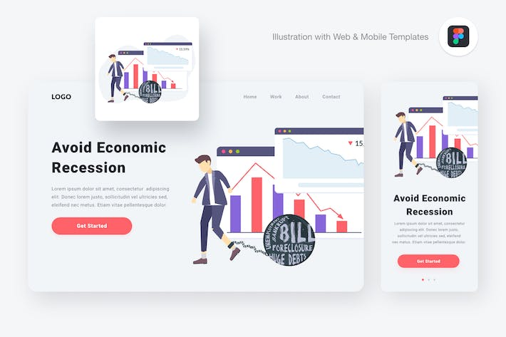 Thumbnail for Economic recession illustration (Figma & SVG)