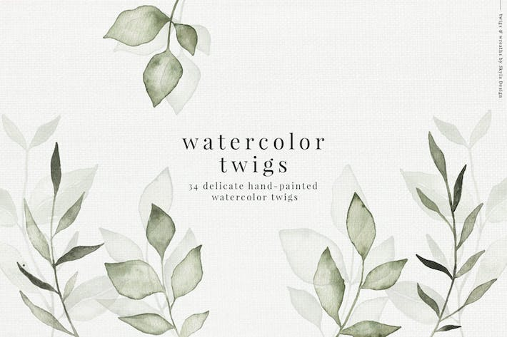 Thumbnail for Watercolor twigs & leaves