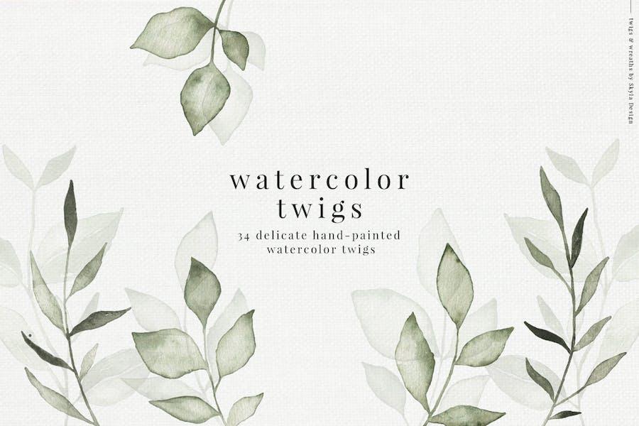 Watercolor twigs & leaves
