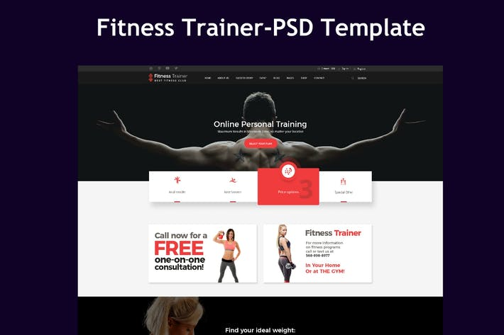 Thumbnail for Fitness Trainer-PSD Template