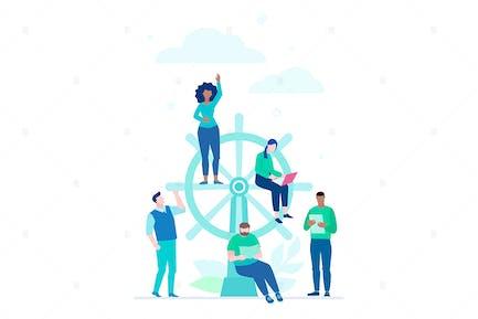 Business management - flat design illustration