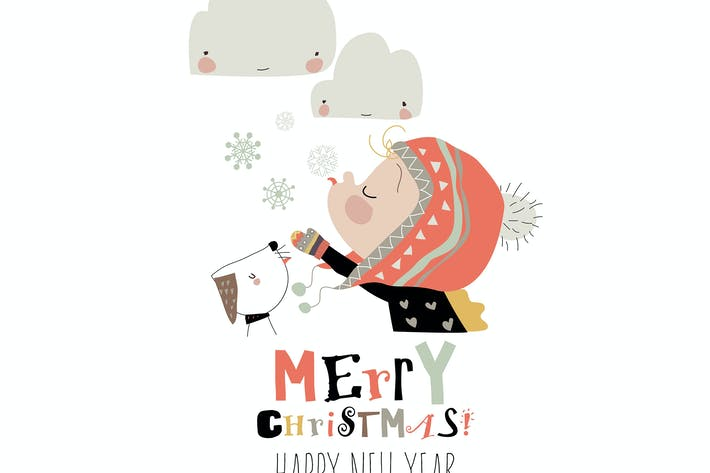 Cover Image For Симпатичный мультфильм девушка ловит снежинки с языком
