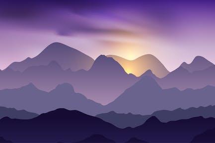 Naturaleza paisaje nocturno con picos de montaña